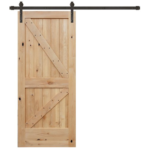 Creative Entryways Paneled Wood Unfinished Barn Door with Installation Hardware Kit