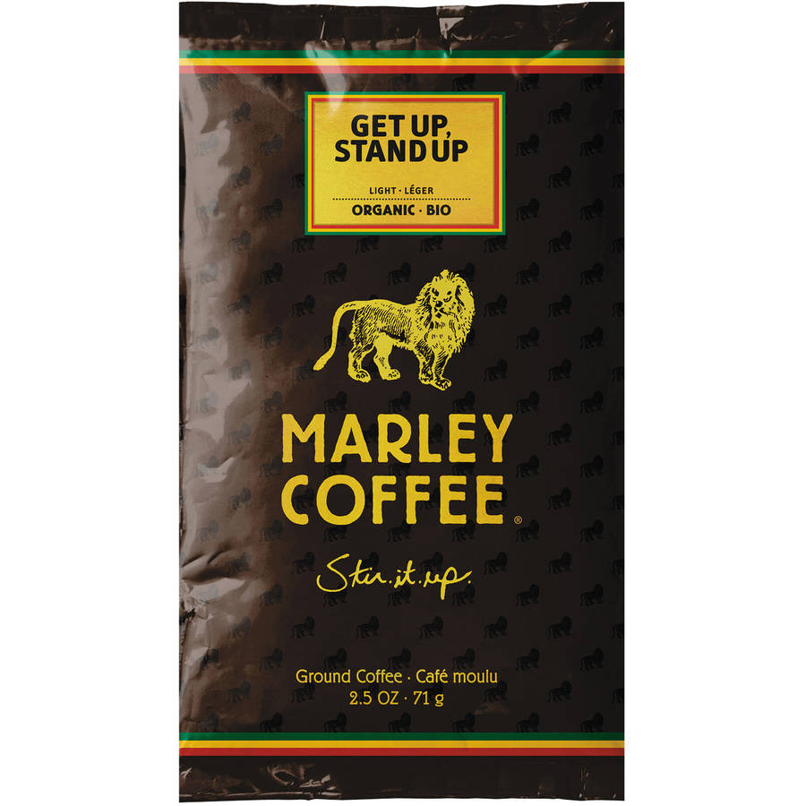 Marley Coffee Get Up Stand Up Light Ground Coffee Fractional Packs, 2.5 oz, 18 count