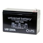 UPG UB1280 12V 8Ah F2 AGM Battery for Fire & Security Panels First Alert Ademco ADI Casil Honeywell ADT Emergency Lights Razor Scooter Verizon FIOS APC UPS RBC 2 31 32 33 40 109 113 130