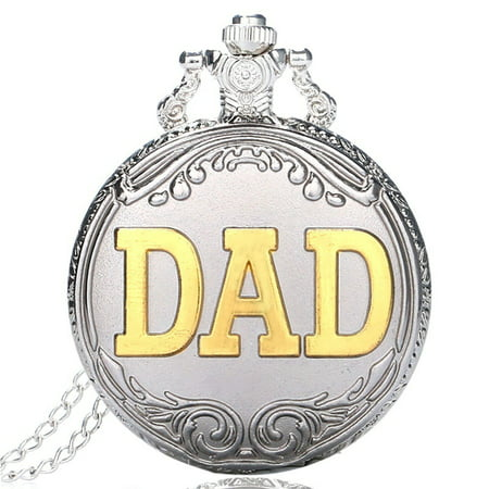 - Silver & Golden DAD Theme Style Quartz Pocket Watch for Men, Luxury Stainless Steel Pocket Watch for Male, Special Pendant Necklace Clock Pocket Watch Gift for Father