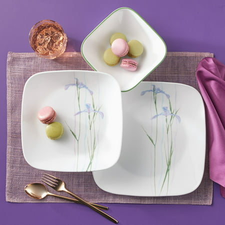 Corelle Square Shadow Iris 16-Piece Dinnerware Set (Resistant Dinnerware Set)