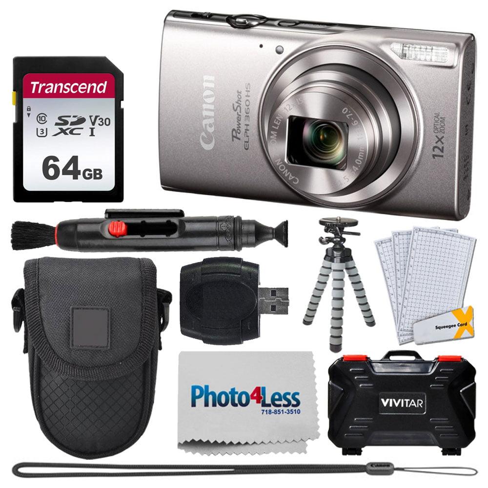 Canon PowerShot ELPH 360 HS Digital Camera (Silver) + Transcend 64GB Memory Card + Point & Shoot Camera Case + Vivitar Memory Card Case (24 Slots) + Flexible Tripod + USB Card Reader + Accessories