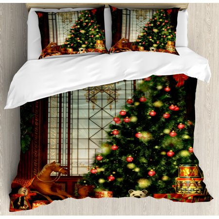 - Christmas Duvet Cover Set, Magical Vintage Ambiance Big Old Fashioned Window Xmas Tree Various Presents, Decorative Bedding Set with Pillow Shams, Brown Red Green, by Ambesonne