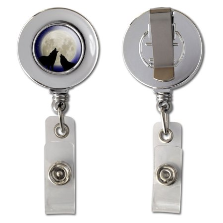 Howling At The Moon - Wolf Wolves Retractable Reel Chrome Badge ID Card Holder