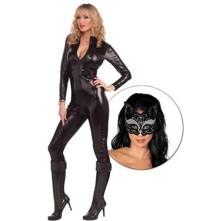 Womens Flirty Hocus Pocus Black Cat Suit - Size Small