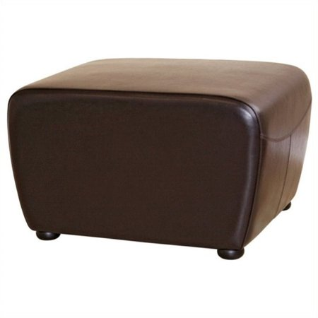 bowery hill leather ottoman in dark brown. Black Bedroom Furniture Sets. Home Design Ideas
