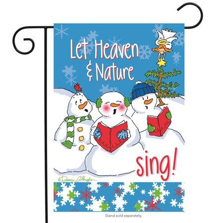Let Heaven Snowmen Garden Flag Christmas Snowman Carolers Holiday 12.5