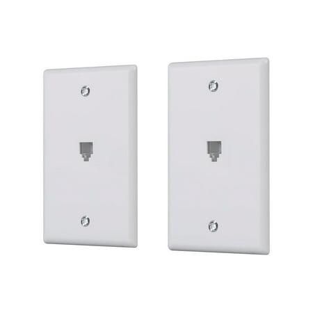 Monoprice Surface Phone Jack Plate - White (2 pack) | Terminating 4-conductor (4P4C) Phone Lines (Giraffe Phone Jack)
