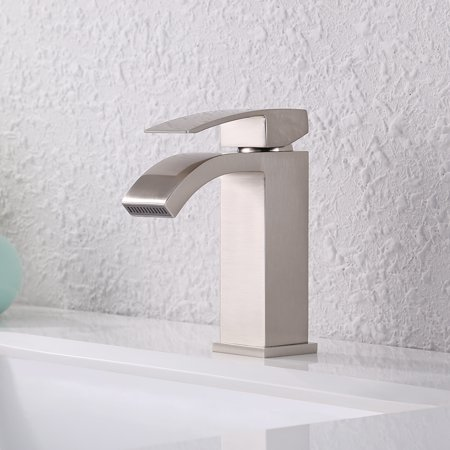 Kes Single Handle Waterfall Bathroom Vanity Sink Faucet With Extra Large Rectangular Spout Brushed Nickel