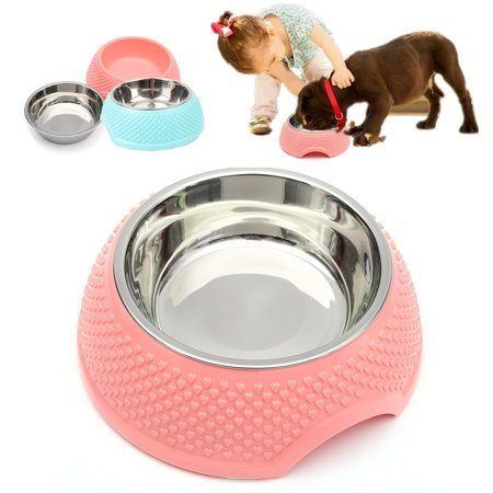 M Way Portable Stainless Steel Round Cat Dog Puppy Pet Water Drink Food Dish Bowl Feeder Feeding Fountain Blue Color