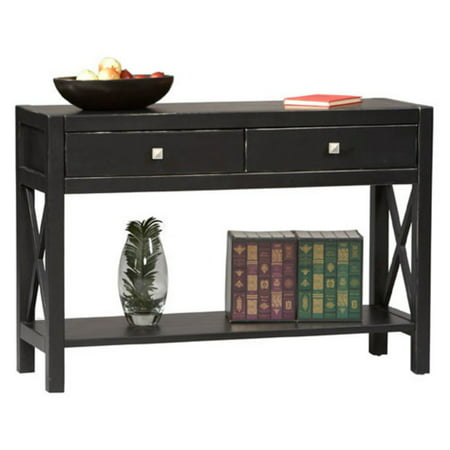 Linon Anna Collection Console Table Antique Black 30 Inches High