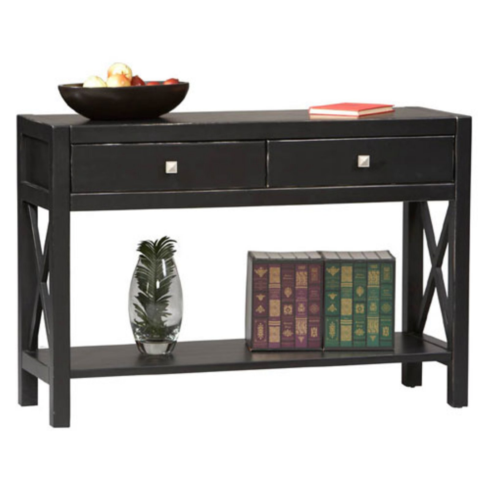 Linon Anna Collection Console Table, Antique Black, 30 inches High