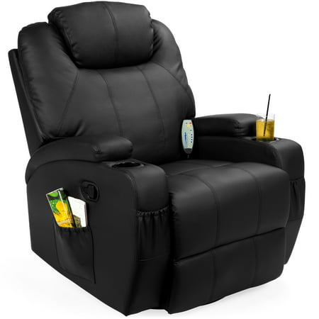 Best Choice Products Executive Swivel Massage Recliner Chair w/ Remote Control, 5 Modes, 2 Cup Holders - Black