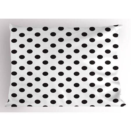 Retro Pillow Sham Nostalgic Polka Dots Pattern with Large Round Circles Minimalist Modern Art Print, Decorative Standard Queen Size Printed Pillowcase, 30 X 20 Inches, Charcoal Grey, by Ambesonne