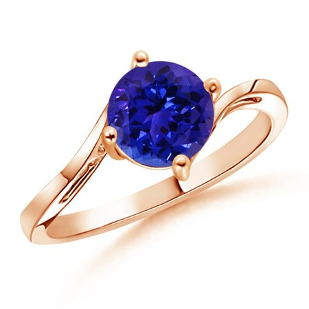 December Birthstone Ring - Classic Round Tanzanite Solitaire Bypass Ring in 14K Rose Gold (7mm Tanzanite) - SR0163T-RG-AAAA-7-6.5