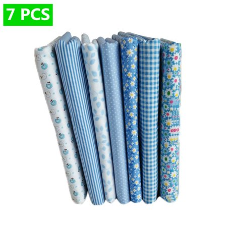 7pcs Blue Series Cotton Fabric Flower Floral Pattern Sewing Textile Material for DIY Patchwork