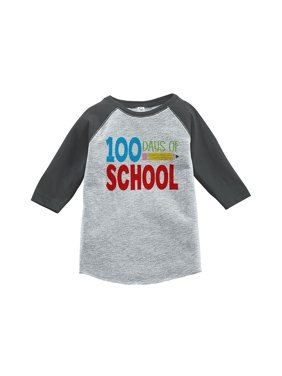Custom Party Shop Kids 100 Days of School Grey Baseball Tee - Small / 6-8