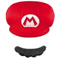 Super Mario Brothers Mario Kids Hat and Mustache Halloween Accessory, One Size