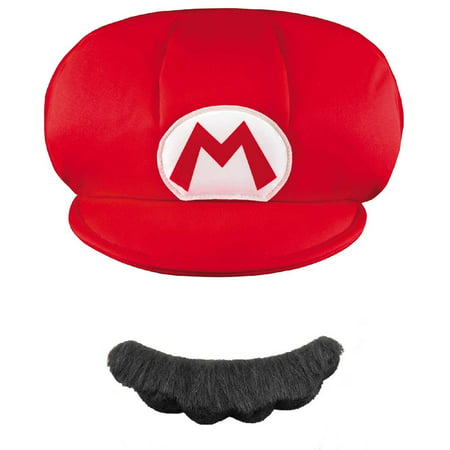 d3002c33b58 Super Mario Brothers Mario Kids Hat and Mustache Halloween Accessory ...