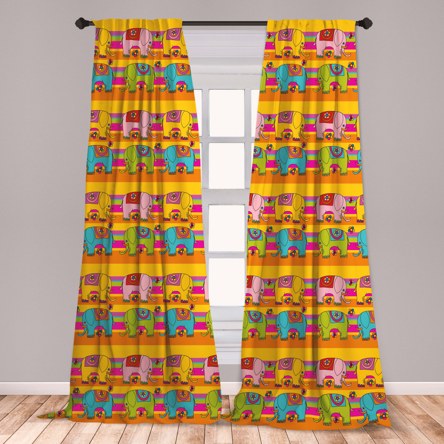 Elephant Nursery Curtains 2 Panels Set Funky Floral Eastern Elephants Colorful Hand Drawn Fantasy Window Drapes For Living Room Bedroom Multicolor By Ambesonne Walmart Com Walmart Com