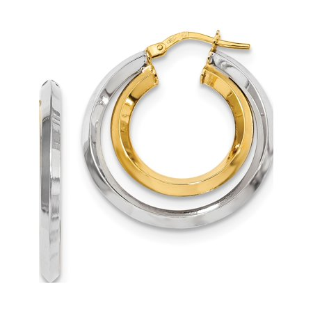 14k Two-Tone Gold Two Tone Polished Double Hoops