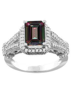 10K White Gold Natural Mystic Topaz Ring Octagon 8x6mm Diamond Accent, size 5.5