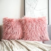 """Phantoscope Merino Style Faux Fur Series Decorative Throw Pillow Cover, 18"""" x 18"""", Pink, 2 Pack"""