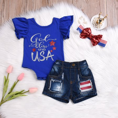 4th of July Clothes Newborn Kids Baby Girl USA Flag Romper+Ripped Short Jeans+Headband Outfits Set Clothes 0-6 Months](St Paddys Day Outfits)