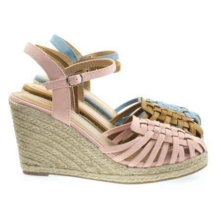 Variety By City Classified  Espadrille Platform Wedge Sandal W Woven Fisherman Huarache