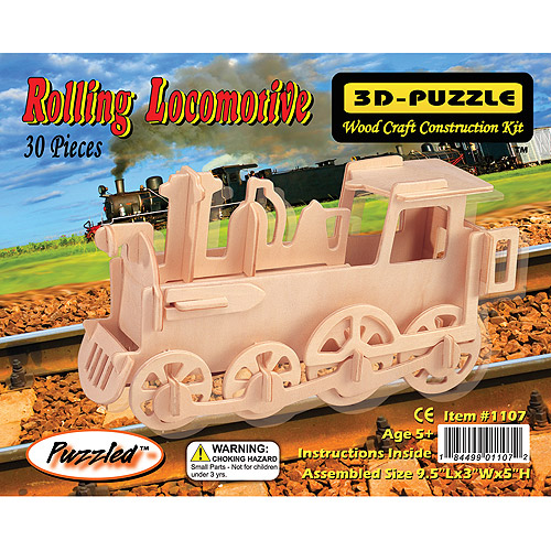 Puzzled 3D Puzzle Wood Craft Construction Kit, Rolling Locomotive