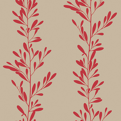 Blue Mountain Fern Shadow Wallcovering, Neutral/Red