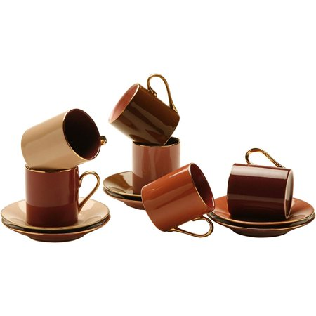 Yedi Houseware Classic Coffee and Tea Aubergine Teacups and Saucers, Set of 6