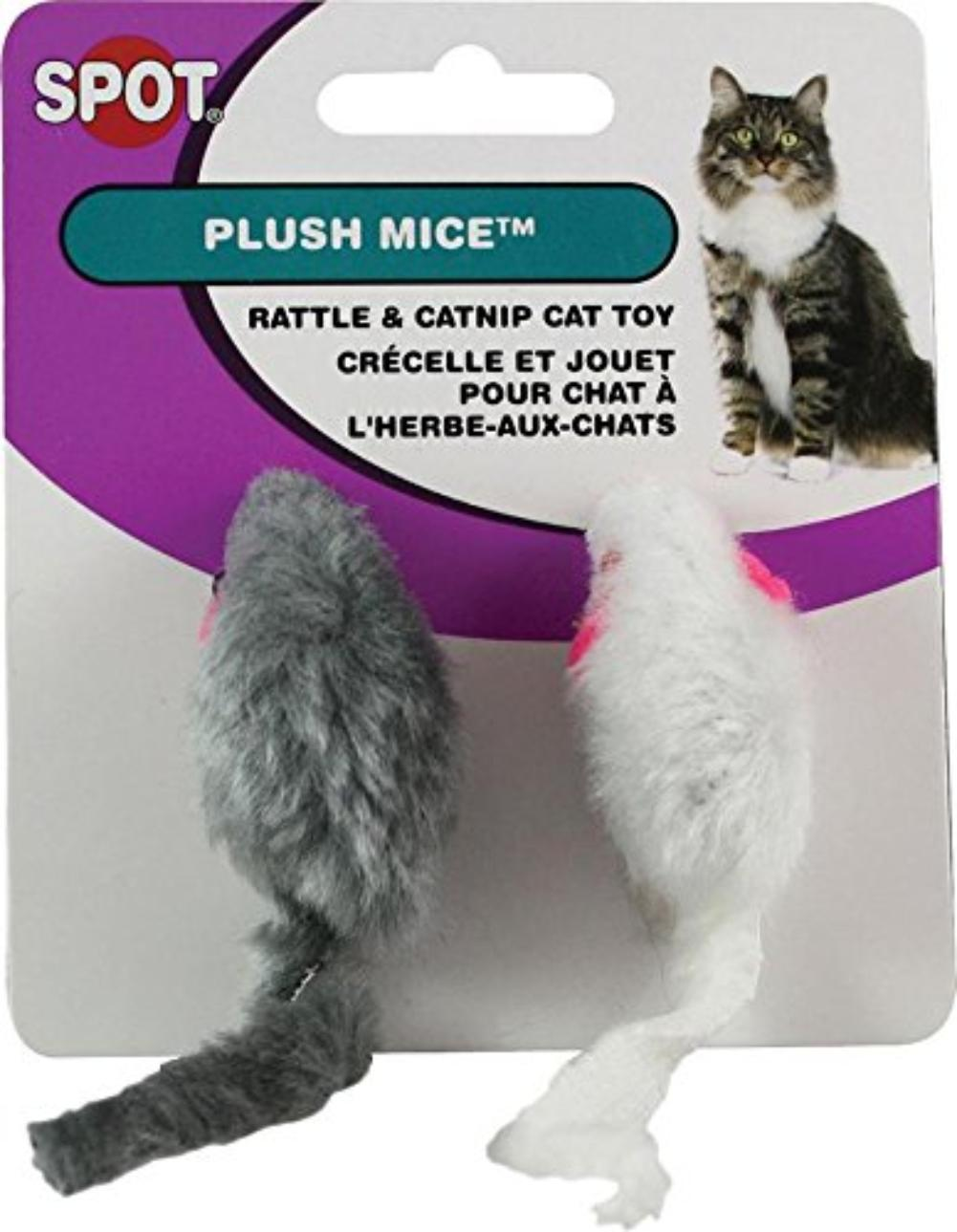 Ethical Plush Mice with Rattle and Catnip Cat Toy, 2-Pack, Great for interactive or solo play and will... by