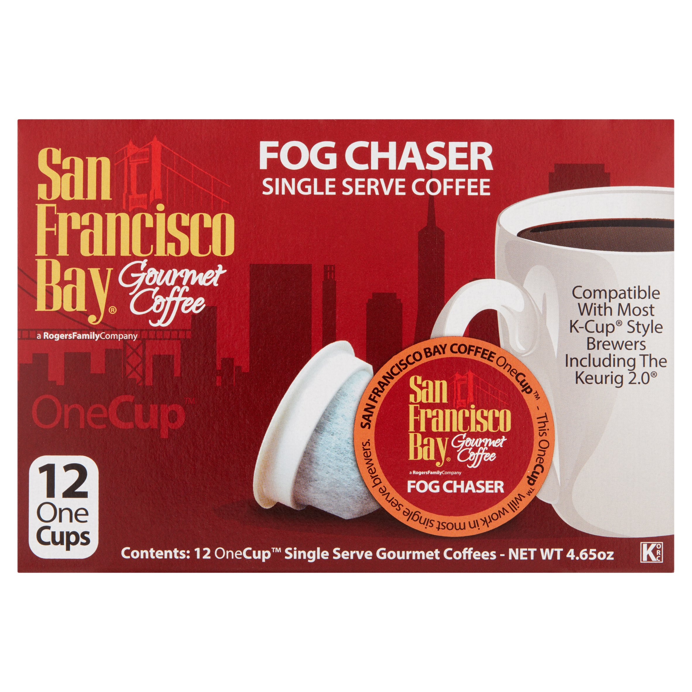 Rogers Family Company San Francisco Bay Fog Chaser Gourmet Coffee, 12 pack, 4.65 oz by Rogers Family Company
