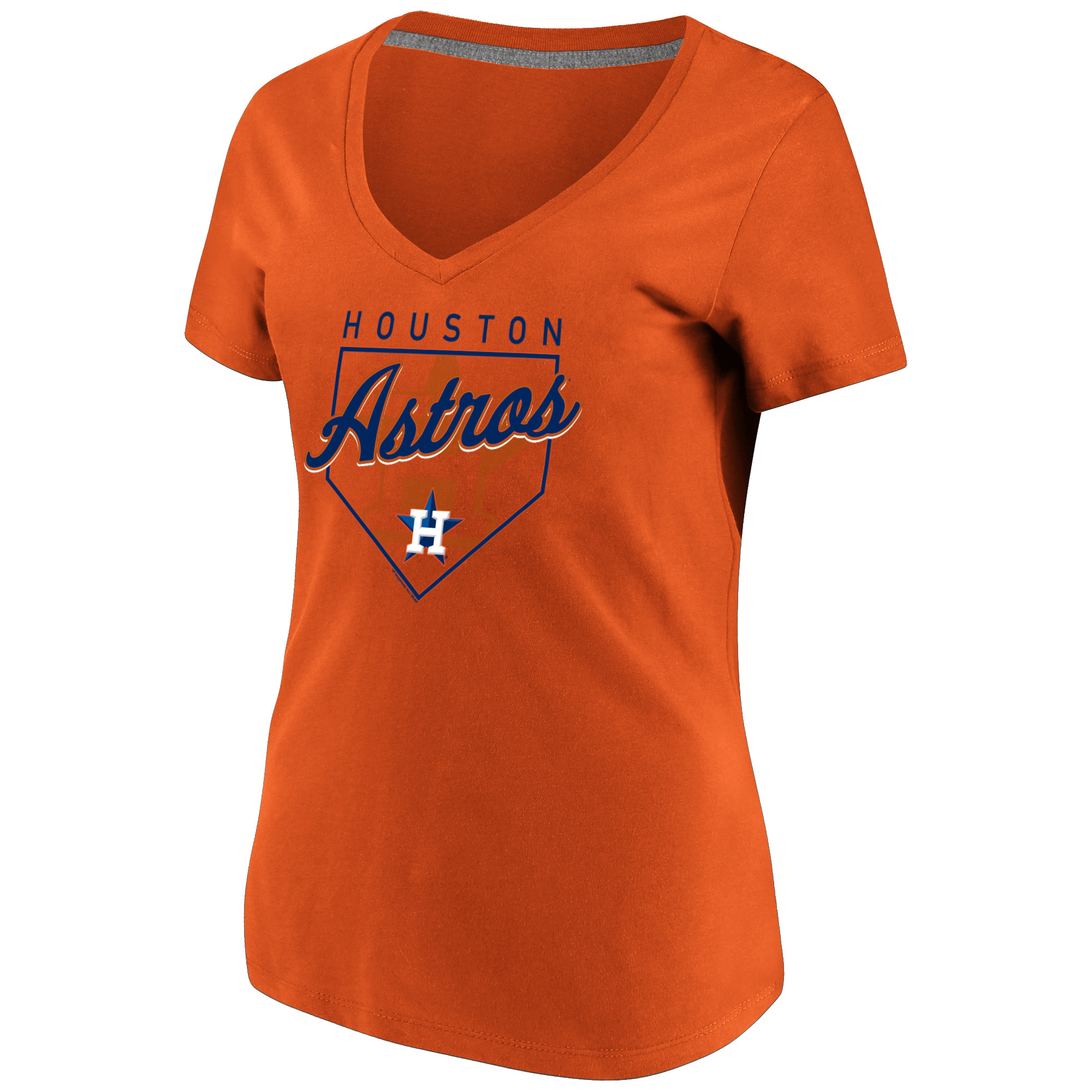Women's Majestic Orange Houston Astros Cling to the Lead V-Neck T-Shirt
