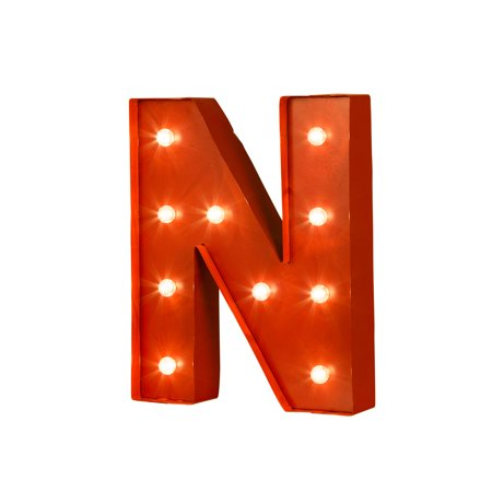 Glitzhome 1205h Vintage Red Marquee Led Lighted Letter N Light Up Sign Battery Operated