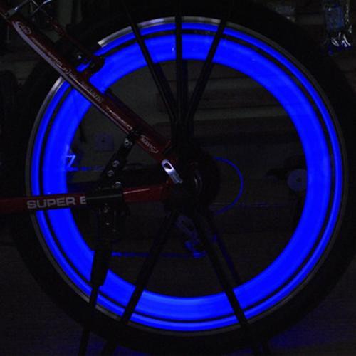 AGPtek Waterproof 6Pcs Bike Bicycle Cycling Sopke Silicone LED Light - Blue