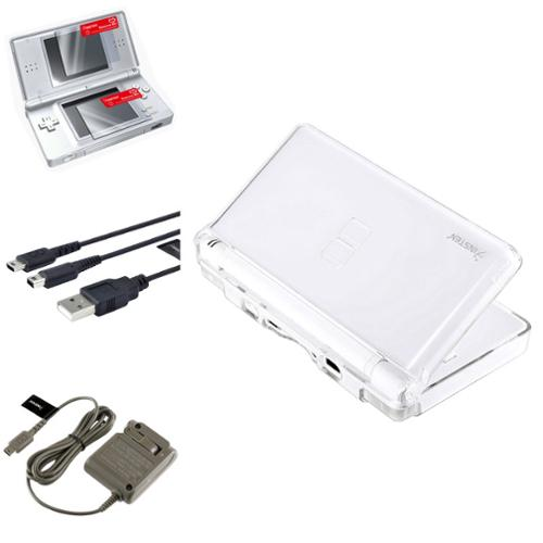 Insten Crystal Case+Charging Cable+Travel Charger+2-LCD Protector For Nintendo DS Lite