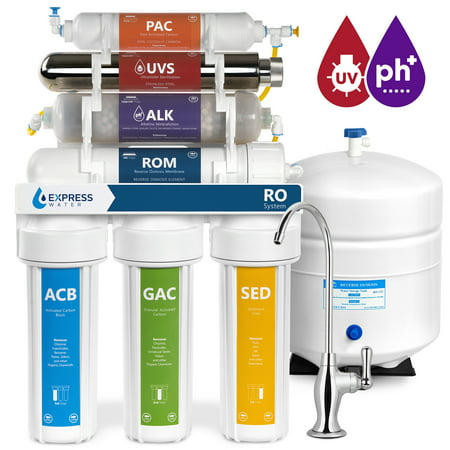 Express Water 11 Stage Home Drinking Filtration System Alkaline pH+  UV Ultraviolet Sterilizer + Reverse Osmosis 100 GPD RO Membrane Filter Deluxe Faucet Residential Under Sink Purification