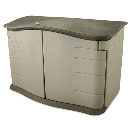 Rubbermaid Horizontal Outdoor Storage Shed, 55 x 28 x 36, 20 cu. ft., Olive Green/Sandstone - Horizontal plastic storage shed for storing garden