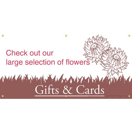 Large Selection of Flowers Vinyl Display Banner with Grommets, 3'Hx6'W, Full Color - Banner Flowers