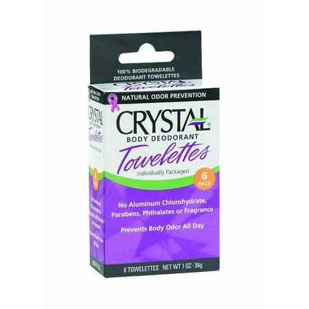 Crystal Deodorant Towelettes, Fragrance-Free, 6 Ct