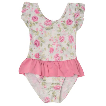 Sol Swim Little Girls White Pink Flower Print Ruffle One Piece (Flower Print Swing)