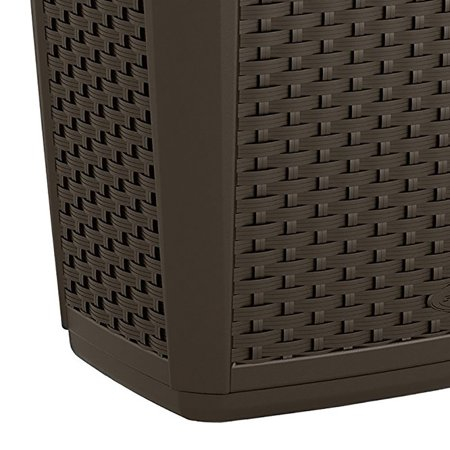 Suncast 30 Gallon Resin Wicker Decorative Outdoor Patio Trash Hideaway, Java