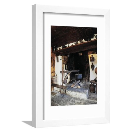 Fireplace with Pot, Inside Walser Museum, Borca, Macugnaga, Piedmont, Italy Framed Print Wall