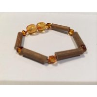 5.5 Inch Hazelwood  Honey Bracelet (For GERD, Colic, Eczema) mixed with Baltic Amber for Baby, Infant.