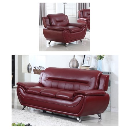 Norton Faux Leather Modern Living Room Sofa And Chair Set Burgundy