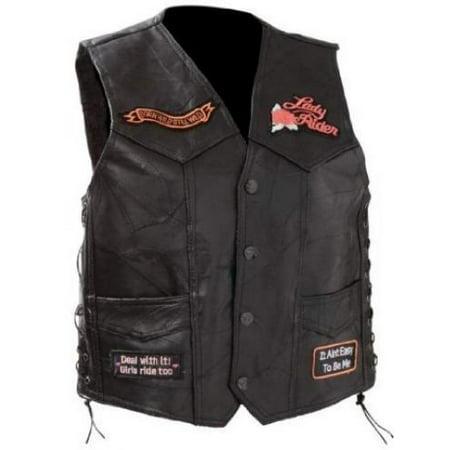 Diamond Plate Ladies Rock Design Genuine Leather Vest- Xl