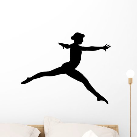 Gymnastic Silhouette Wall Decal by Wallmonkeys Peel and Stick Graphic