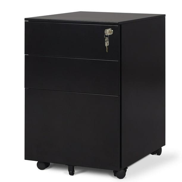 DEVAISE Mobile Pedestal Lockable 3 Drawers Anti-Tipping ...